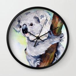 Koala watercolor by Anne Gorywine Wall Clock