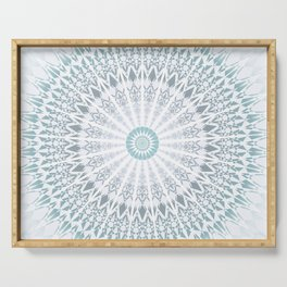 Teal Aqua Mandala Serving Tray
