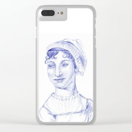 Jane Austen Portrait in Blue Bic Ink Pen Clear iPhone Case