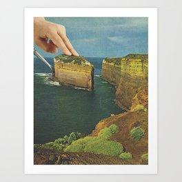 Serving up cake by the seaside - Cake slice Art Print