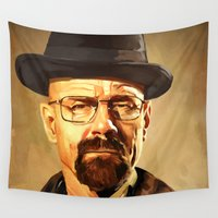 walter white Wall Tapestries featuring Walter White by Richtoon