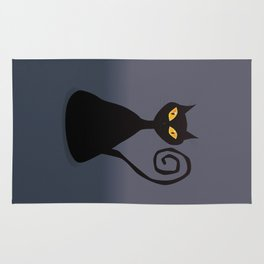 Cunning black cat Rug