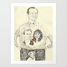 Frasier wearing a tshirt of Niles and Daphne in a luv heart Art Print