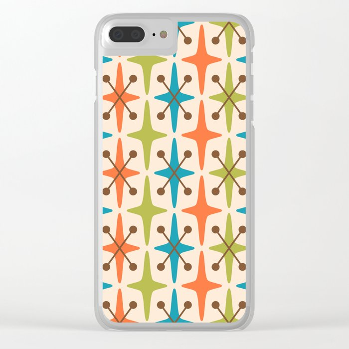 Mid Century Modern Abstract Star Pattern 441 Orange Brown Turquoise Chartreuse Clear iPhone Case