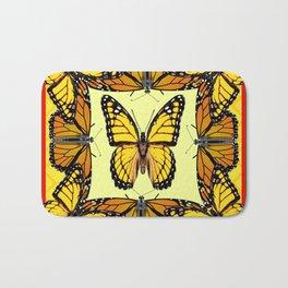 ORIGINAL DESIGN  ABSTRACT OF YELLOW & ORANGE MONARCH BUTTERFLIES BROWN ART Bath Mat