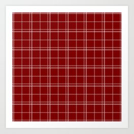 Large Dark Christmas Candy Apple Red Plaid Check with White Art Print