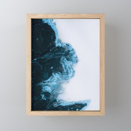Abstract Aerial Lake in Iceland – Minimalist Landscape Photography Framed Mini Art Print