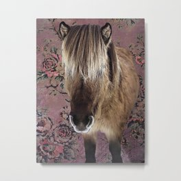 Icelandic pony with rosy posies Metal Print