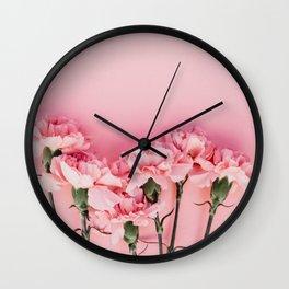 Blush Pink Flowers Wall Clock