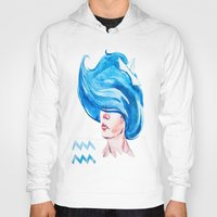 aquarius Hoodies featuring Aquarius by Aloke Design