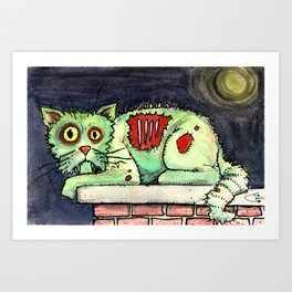 zombie cat on the wall Art Print