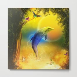 Colorful Dolphin Metal Print