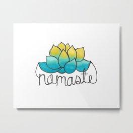 Namaste Lotus Flower Doodle  Metal Print
