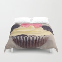 minnie Duvet Covers featuring Minnie Mouse Cupcake by Loulabelle