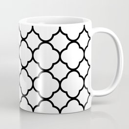 White & Black Quatrefoil Moroccan Coffee Mug