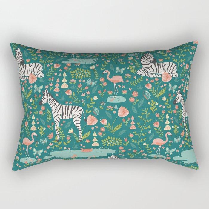 Wild Zebras in Green Garden Rectangular Pillow