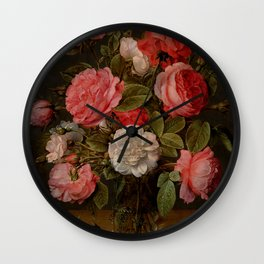 "Jacob van Hulsdonck ""Roses in a Glass Vase"" Wall Clock"