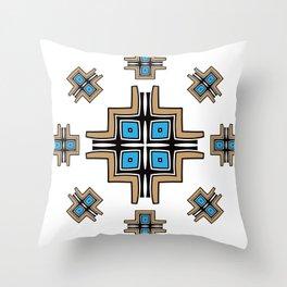 aztec cross mandala Throw Pillow
