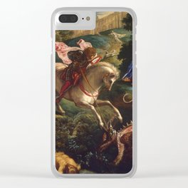 """Tintoretto (Jacopo Robusti) """"Saint George"""" Clear iPhone Case"""