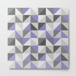 Purple & gray modern triangles pattern Metal Print