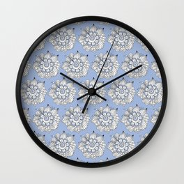 Background abstract white doodle-flowers, pattern, vector, texture design. Wall Clock