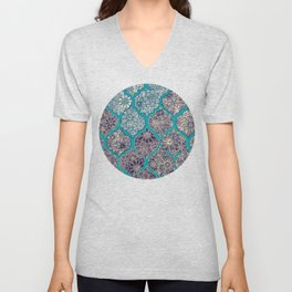 Moroccan Floral Lattice Arrangement - teal Unisex V-Neck