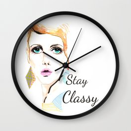 Vintage fashionista Twiggy Lesley Stay Classy Quote Illustration Wall Clock