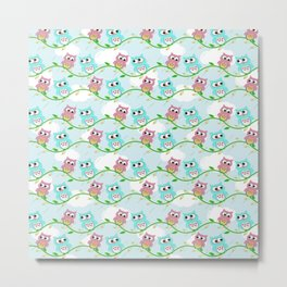 Cute Pink Teal White Pastel blue Green Litlle Owl Metal Print