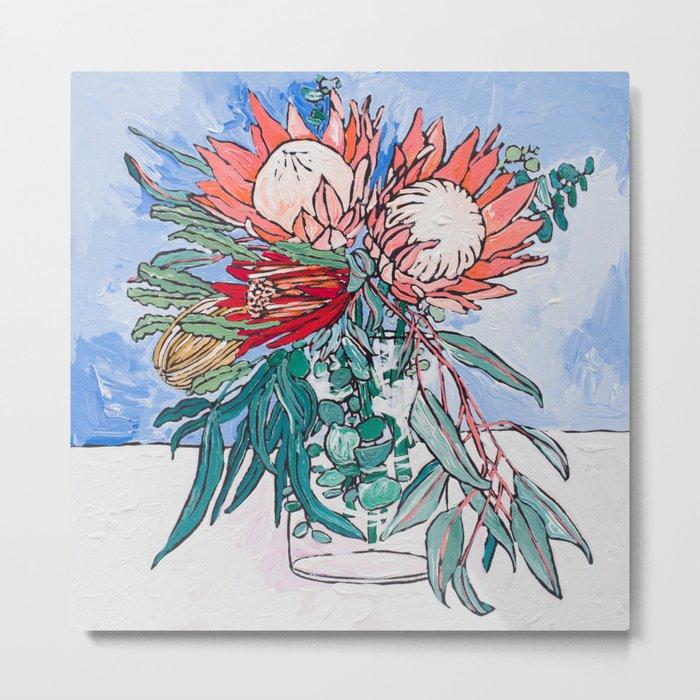 Painterly Vase of Proteas, Wattles, Banksias and Eucayptus on Blue Metal Print