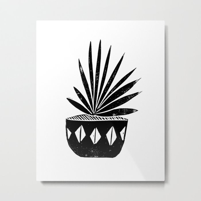 houseplant linocut aloe vera art botanical black and white lino printmaking art minimal modern Metal Print