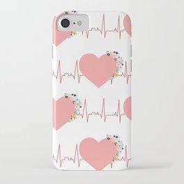 Flower ECG Hearts iPhone Case