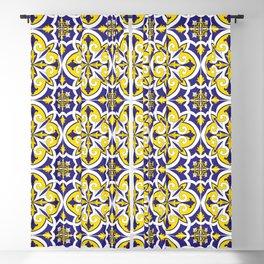 Portuguese Tile Pattern – Vintage ceramic azulejos of Lisbon Blackout Curtain