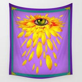 Surreal  Mystic Yellow Petal Eye Teal-Purple Color Art Wall Tapestry