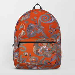 Painted Tibetan Brocade orange Backpack