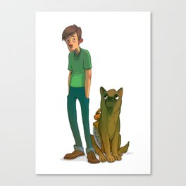 A boy and his Watchdog Canvas Print
