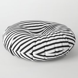 Black And White Stripes Breton Nautical Minimalist Floor Pillow