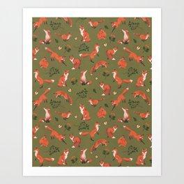 Fox Pattern (large) Art Print