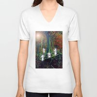 kodama V-neck T-shirts featuring Kodama under the tree by pkarnold + The Cult Print Shop