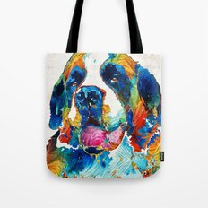 Colorful Saint Bernard Dog by Sharon Cummings Tote Bag