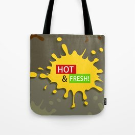 Splash of Yellow Paint with Hot & Fresh Text Tote Bag