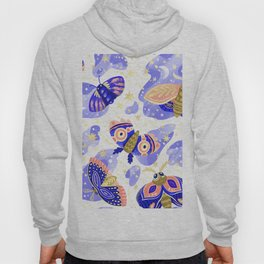 Abstract watercolor lilac navy blue gold butterflies Hoody