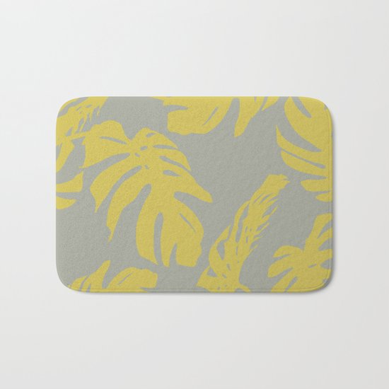 Simply Mod Yellow Palm Leaves on Retro Gray Bath Mat