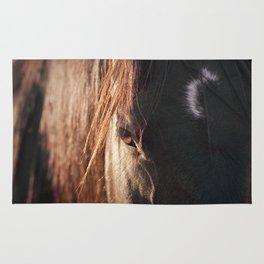 Close up black horse photograph Rug