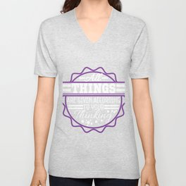 """""""All Things Are Given According To Your Thinking"""" tee design. Makes a nice and unique gift too!  Unisex V-Neck"""