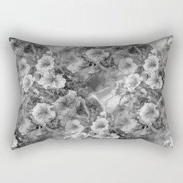 Morning Glories In Black And White Rectangular Pillow
