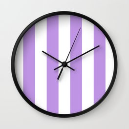 Vertical Stripes - White and Light Violet Wall Clock