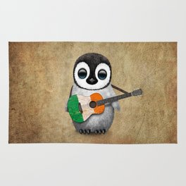Baby Penguin Playing Irish Flag Guitar Rug
