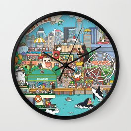 Seattle cats Wall Clock