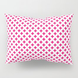 Small Hot Neon Pink Crosses on White Pillow Sham