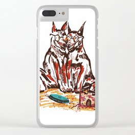 Dogs On Hol Clear iPhone Case